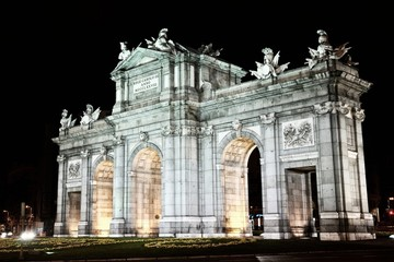 Night view of Alcala Gate in Madrid, Spain