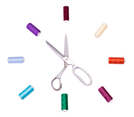 Multicolored sewing thread and scissors