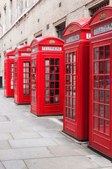 Traditional red telephone booths in London