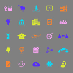 Business connection color icons on gray background