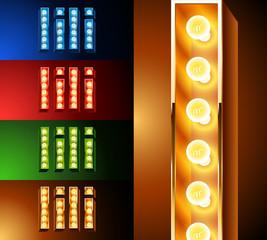 Realistic lamp board alphabet. Multicolored.  Letter i