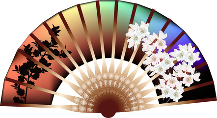 brown isolated fan with white flowers