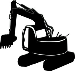 black excavator silhouette isolated on white