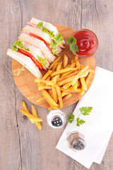 sandwich club and french fries