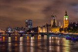 Big Ben and Westminster Bridge at night, London, UK - 75988203