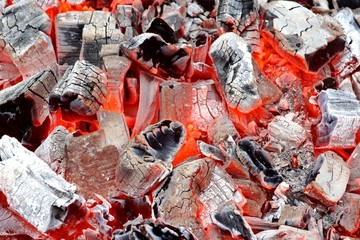 Coals in Barbeque Pit