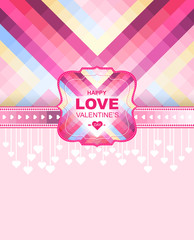 Valentine day card and background.Vector template of invitation