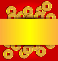 Gold coins abstract background for Chinese New Year