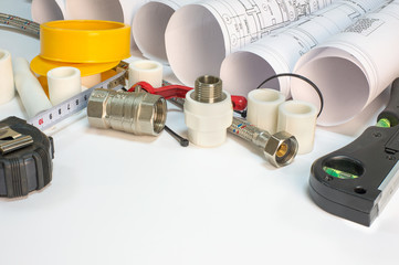Drawing rolls, plumbing hardware tools, appliances and materials