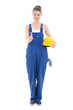 Leinwanddruck Bild - young attractive woman builder in workwear thumbs up isolated on