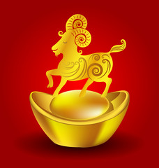 Year of the Goat Chinese Zodiac Goat on red background