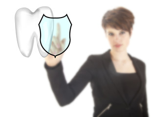 Young woman with tooth shield symbol isolated