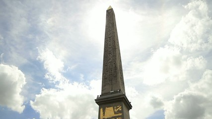 Clouds passing over Obelisk-Place de la Concorde-Paris-France