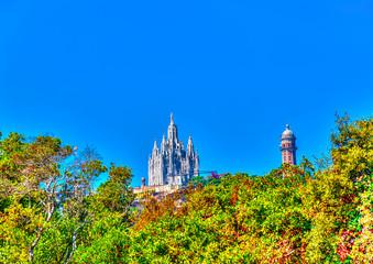 Tibadabo hill, Sagrat Cor church, in Barcelona in Spain. HDR