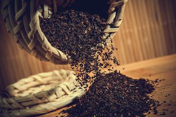vintage wicker basket and black leaf tea
