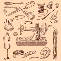 Sewing Icons Sketch Set