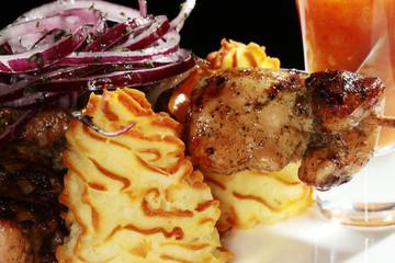 kebab with garnish