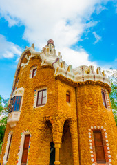 strange houses at the famous park Guell in Barcelona in Spain