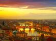 Leinwanddruck Bild - Sunset view of bridge Ponte Vecchio. Florence, Italy