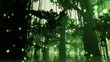 Mysterious Fairy Tale Fantasy Deep Jungle in Water with Fireflie