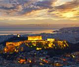 Athens, Greece. After sunset. Parthenon and Herodium constructio