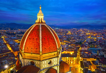 View of the Cathedral Santa Maria del Fiore at dusk. Florence, I