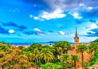 the house of Gaudi in park Guell at Barcelona in Spain. HDR