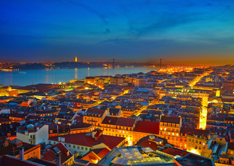 Cityscape of Lisbon in Portugal after sunset