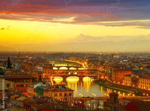 Leinwanddruck Bild Sunset view of bridge Ponte Vecchio. Florence, Italy