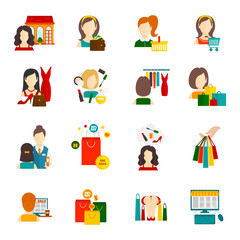 Woman Shopping Icon Flat