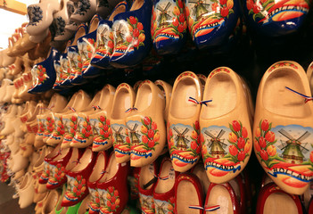 Dutch Souvenirs, a bunch of colored wooden shoes
