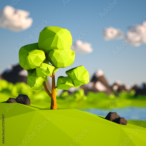 canvas print picture Lowpoly Tree