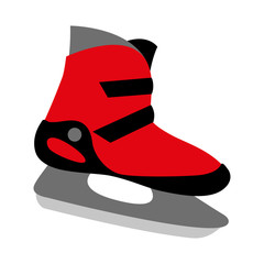 red ice skates boot icon - symbol of skating, winter sport