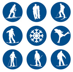 Ski resort vector silhouettes collection. EPS 10