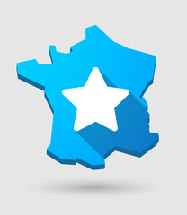 long shadow France map icon with a star