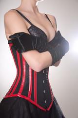 Beautiful woman in corset and bra embracing herself