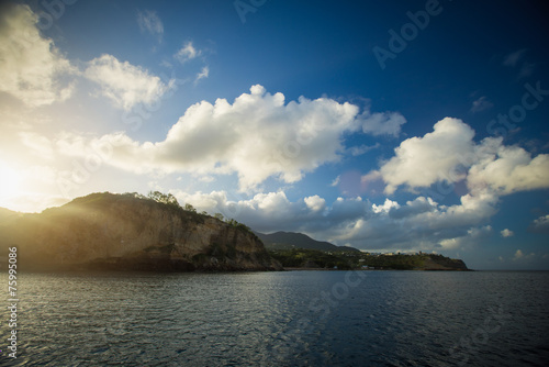 canvas print picture Sonnenaufgang bei Montserrat, Karibik