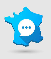 long shadow France map icon with a comic balloon