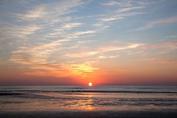 colorful sundown above the North Sea on the coast of holland