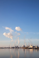 buildings of Tata steel in the dutch town of IJmuiden