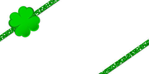 Clover Double Glitter Ribbon Diagonal Green