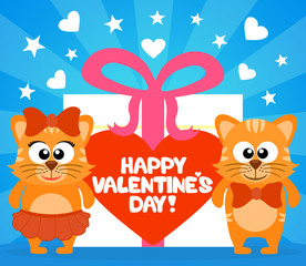 Happy Valentine's day card with funny cats vector