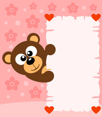Pink Valentine's day background card with bear