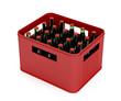 Leinwandbild Motiv Crate full with beer bottles