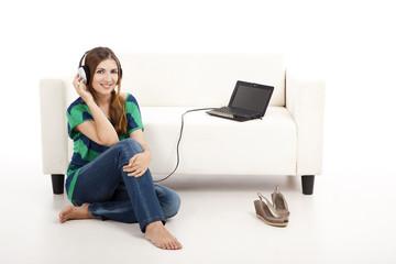 Listen music on a laptop