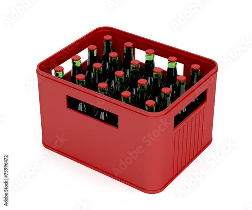 Leinwanddruck Bild Crate full with beer bottles