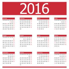 Calendario 2016 Red Vector