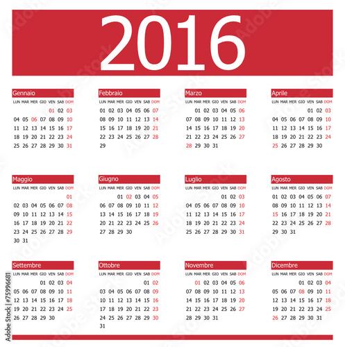 """Calendario 2016 Red Vector"""" Immagini e vettoriali Royalty Free su ..."""