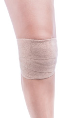Sports injuries of the knee. Bandage elastic tied.