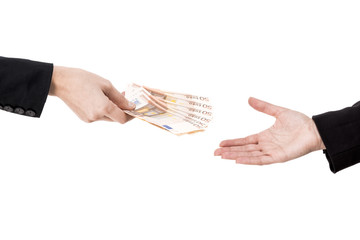 Concept image of hands making and receiving a payment